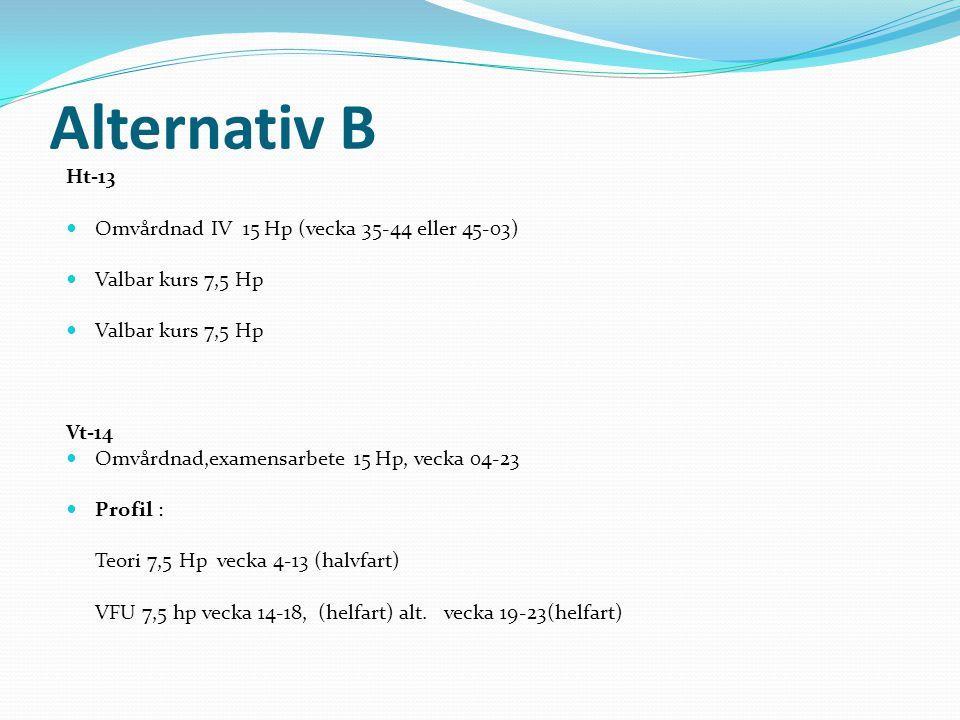 Alternativ B Ht-13 Omvårdnad IV 15 Hp (vecka 35-44 eller 45-03) Valbar kurs 7,5 Hp Valbar kurs 7,5 Hp Vt-14 Omvårdnad,examensarbete 15 Hp, vecka 04-23 Profil : Teori 7,5 Hp vecka 4-13 (halvfart) VFU 7,5 hp vecka 14-18, (helfart) alt.