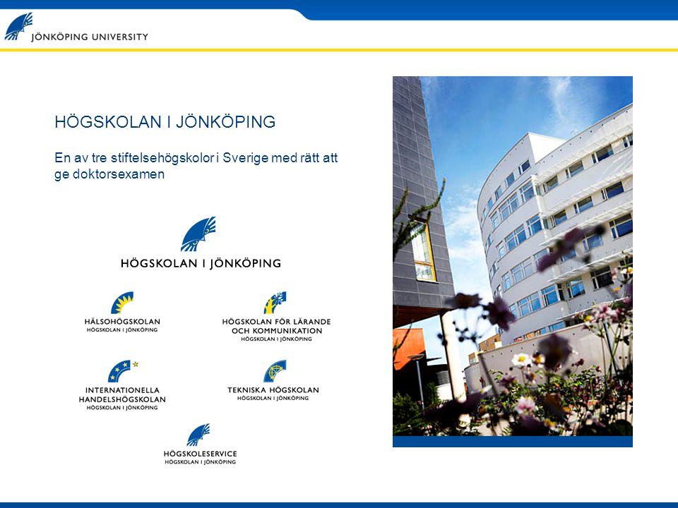 HÖGSKOLAN I JÖNKÖPING En av tre stiftelsehögskolor i Sverige med rätt att ge doktorsexamen