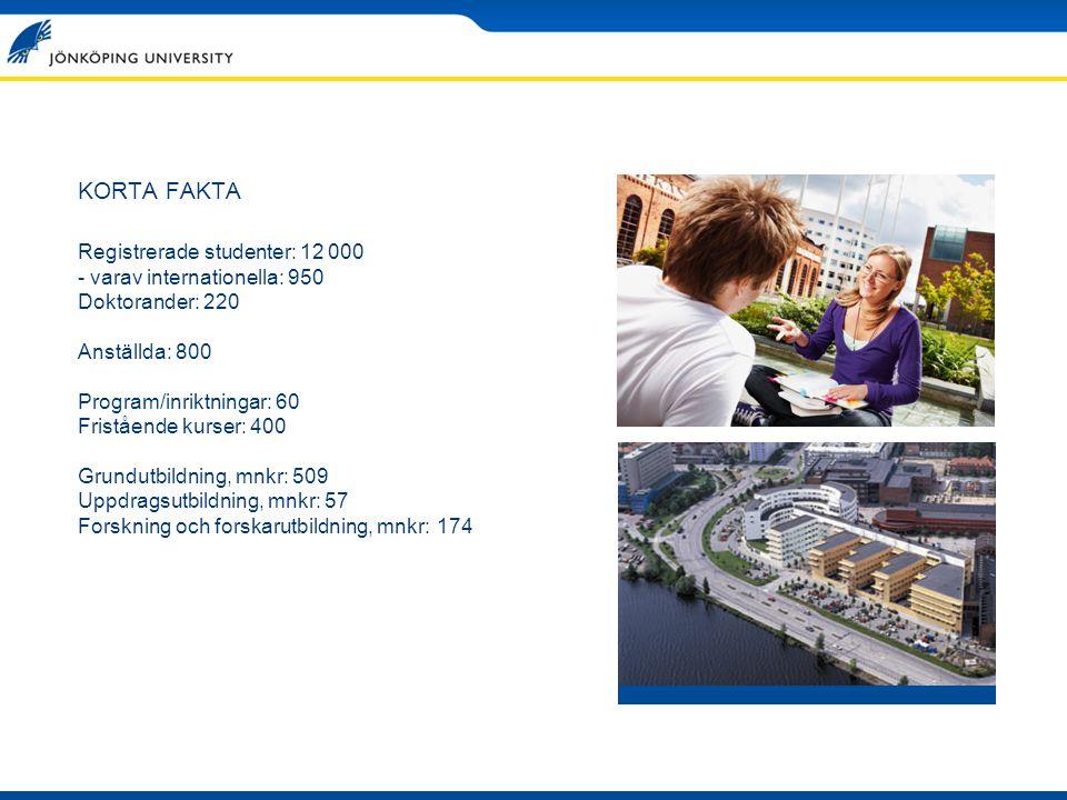 KORTA FAKTA Registrerade studenter: 12 000 - varav internationella: 950 Doktorander: 220 Anställda: 800 Program/inriktningar: 60 Fristående kurser: 40