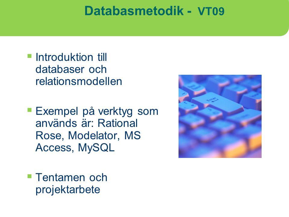Databasmetodik - VT09  Introduktion till databaser och relationsmodellen  Exempel på verktyg som används är: Rational Rose, Modelator, MS Access, My