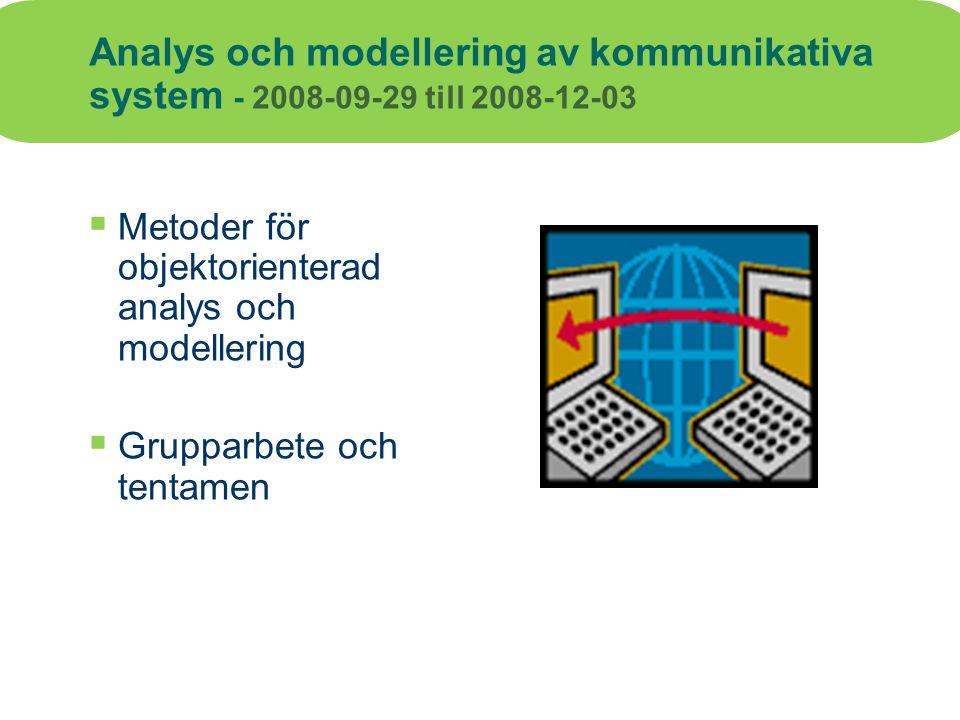 Analys och modellering av kommunikativa system - 2008-09-29 till 2008-12-03  Metoder för objektorienterad analys och modellering  Grupparbete och te