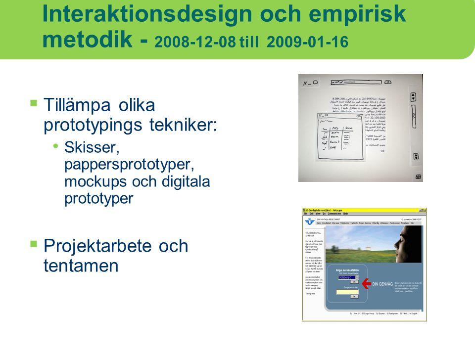 Interaktionsdesign och empirisk metodik - 2008-12-08 till 2009-01-16  Tillämpa olika prototypings tekniker: Skisser, pappersprototyper, mockups och d