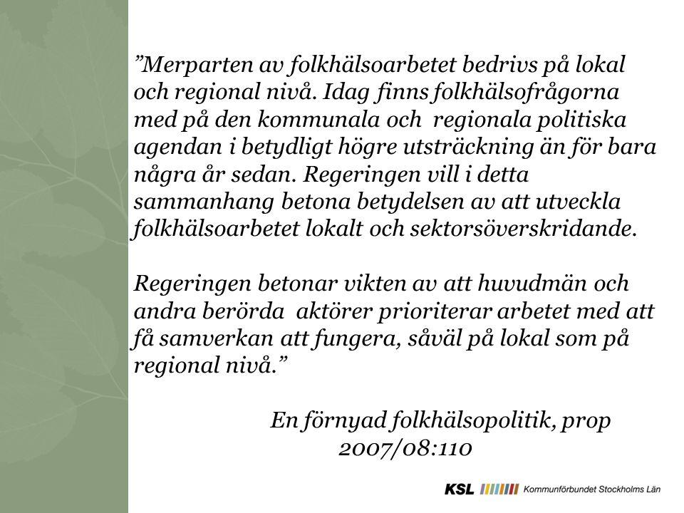 Projektets styrgrupp och uppdrag Landstinget – Avd för närsjukvård Stockholms stad Södertälje kommun Huddinge kommun Migrationsverket Kommunförbundet Stockholms Län Landstinget – Transkulturellt centrum Arbetsförmedlingen Styrgruppens uppdrag: - Riktlinjer och vägledning - Bistå med expertis - Sprida erfarenheter inom egna organisation och politik - Hitta kanaler till övriga kommuner - Utforma ett finansieringssystem för att kunna ta tillvara de resurser som utvecklas