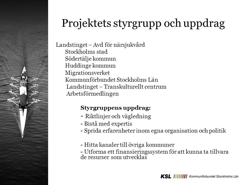 Projektets styrgrupp och uppdrag Landstinget – Avd för närsjukvård Stockholms stad Södertälje kommun Huddinge kommun Migrationsverket Kommunförbundet