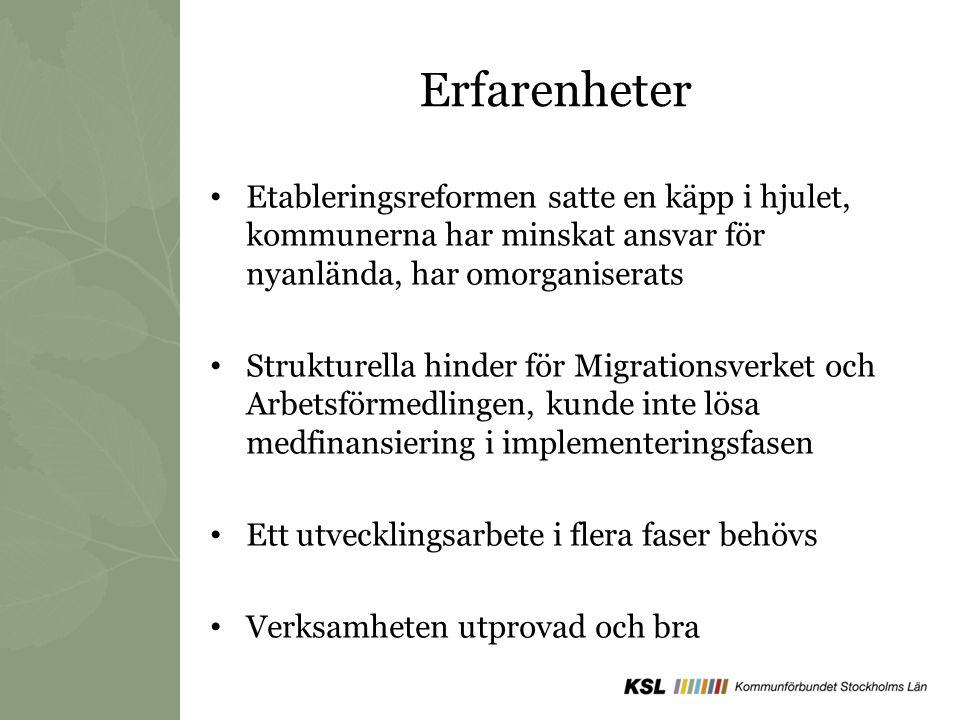 Erfarenheter Etableringsreformen satte en käpp i hjulet, kommunerna har minskat ansvar för nyanlända, har omorganiserats Strukturella hinder för Migra