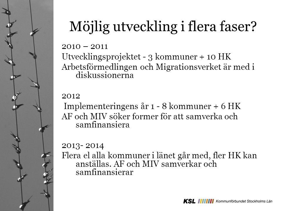 Möjlig utveckling i flera faser? 2010 – 2011 Utvecklingsprojektet - 3 kommuner + 10 HK Arbetsförmedlingen och Migrationsverket är med i diskussionerna