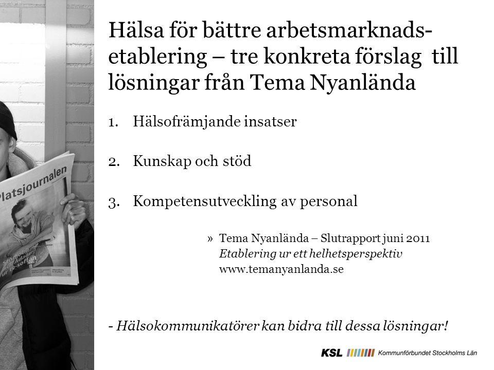 Åtta kommuner utvecklar verksamheten tillsammans med Landstinget under 2012 Botkyrka Nacka Salem Sollentuna Stockholm Sundbyberg Södertälje Upplands Väsby