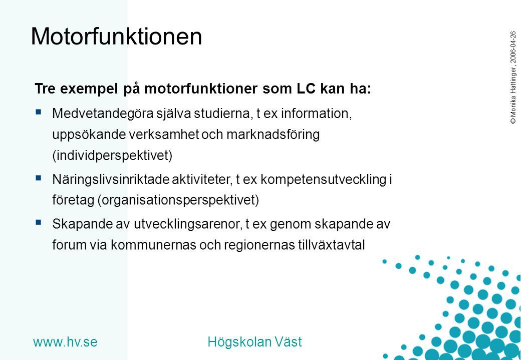 www.hv.seHögskolan Väst © Monika Hattinger, 2006-04-26 Motorfunktionen Tre exempel på motorfunktioner som LC kan ha:  Medvetandegöra själva studierna