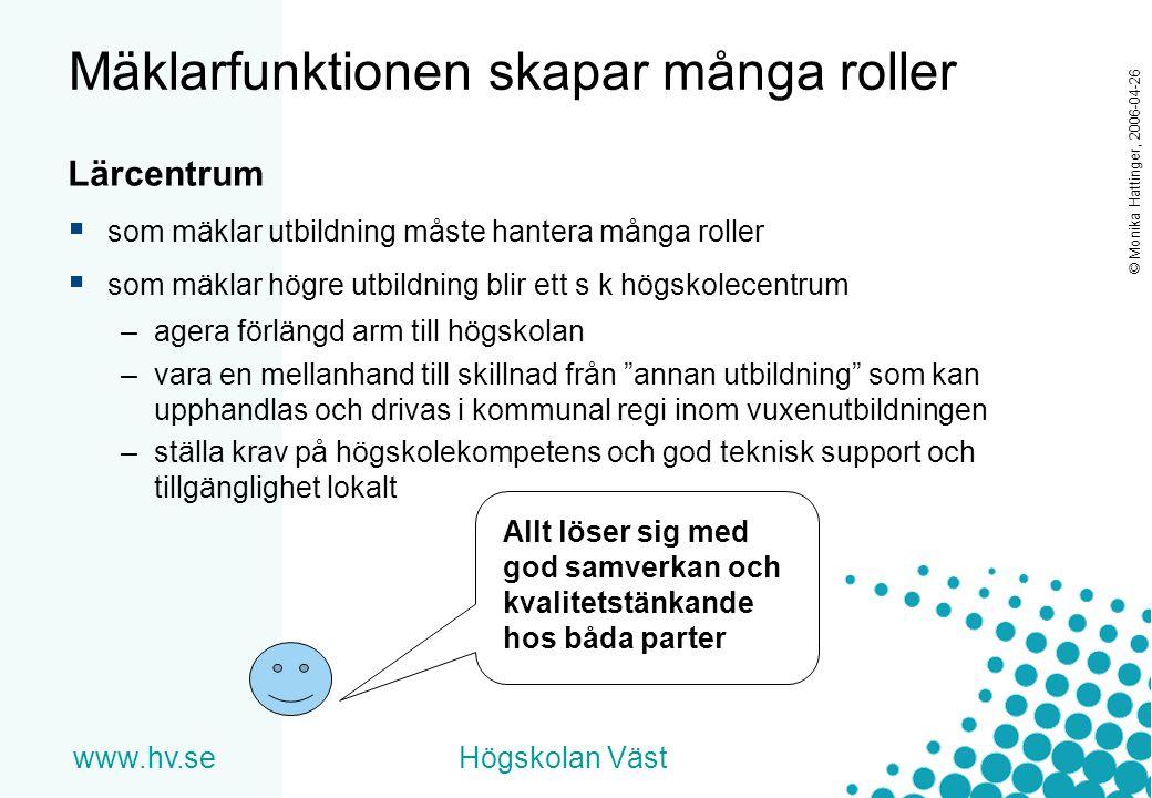www.hv.seHögskolan Väst © Monika Hattinger, 2006-04-26 Mäklarfunktionen skapar många roller Lärcentrum  som mäklar utbildning måste hantera många rol