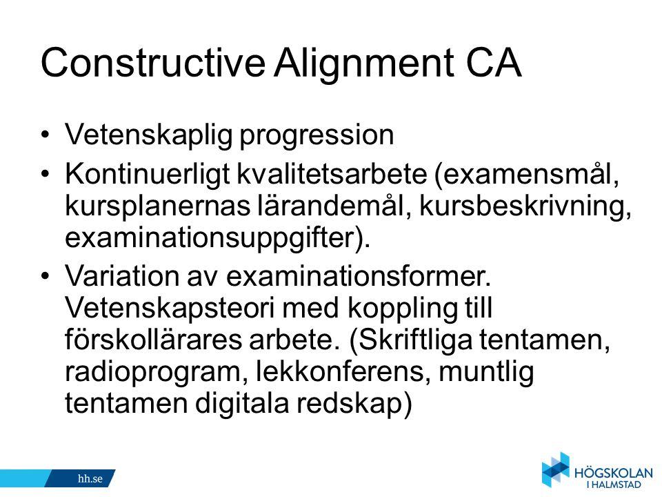 Constructive Alignment CA Vetenskaplig progression Kontinuerligt kvalitetsarbete (examensmål, kursplanernas lärandemål, kursbeskrivning, examinationsu