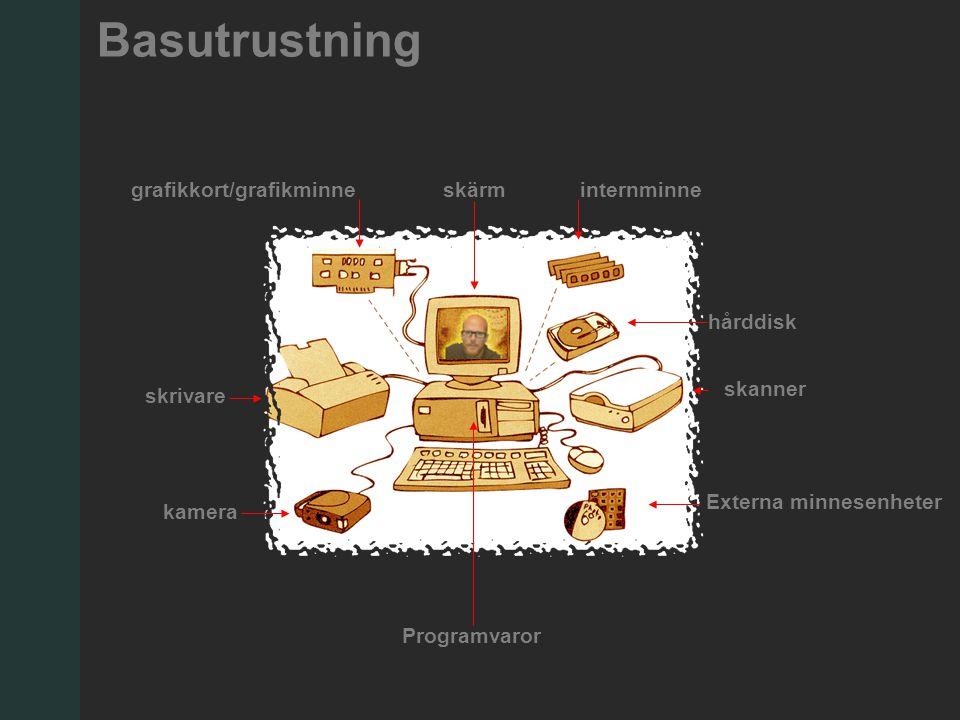 Basutrustning Externa minnesenheter skanner internminne hårddisk skärmgrafikkort/grafikminne skrivare kamera Programvaror