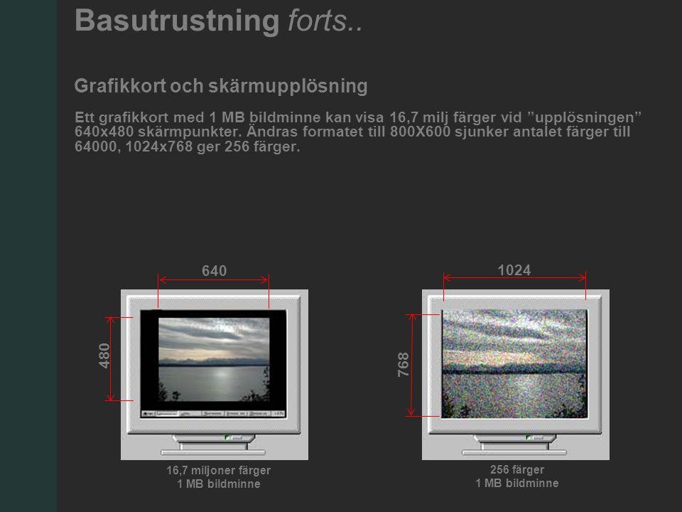 Ett grafikkort med 1 MB bildminne kan visa 16,7 milj färger vid upplösningen 640x480 skärmpunkter.