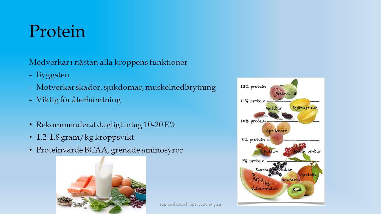 Protein Medverkar i nästan alla kroppens funktioner -Byggsten -Motverkar skador, sjukdomar, muskelnedbrytning -Viktig för återhämtning Rekommenderat d