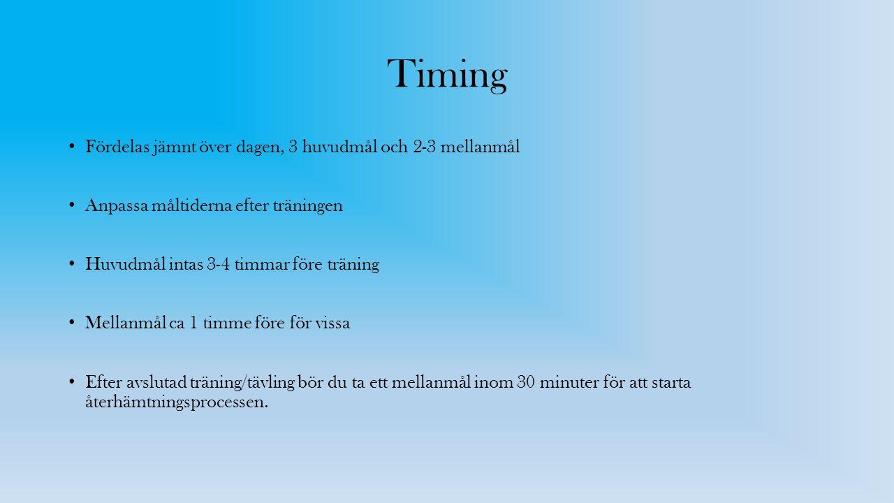 Timing Fördelas jämnt över dagen, 3 huvudmål och 2-3 mellanmål Anpassa måltiderna efter träningen Huvudmål intas 3-4 timmar före träning Mellanmål ca