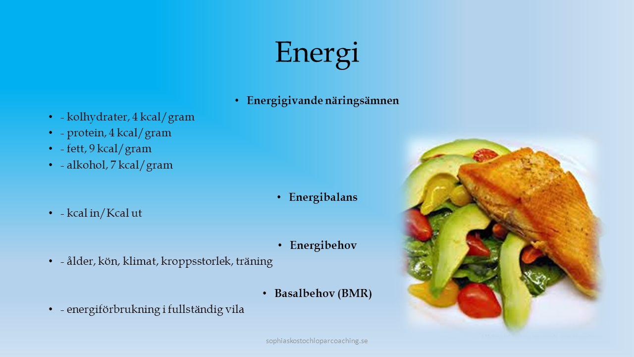 Energi Energigivande näringsämnen - kolhydrater, 4 kcal/gram - protein, 4 kcal/gram - fett, 9 kcal/gram - alkohol, 7 kcal/gram Energibalans - kcal in/