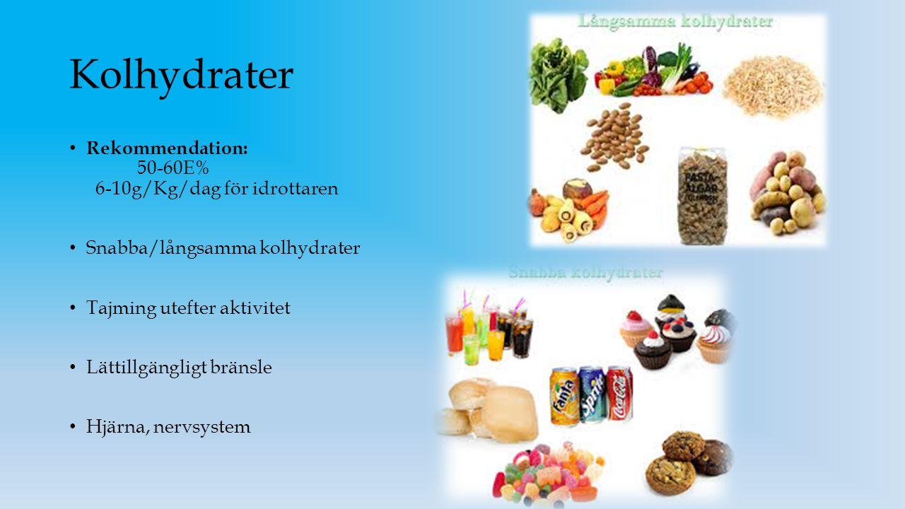 Kolhydrater Rekommendation: 50-60E% 6-10g/Kg/dag för idrottaren Snabba/långsamma kolhydrater Tajming utefter aktivitet Lättillgängligt bränsle Hjärna,