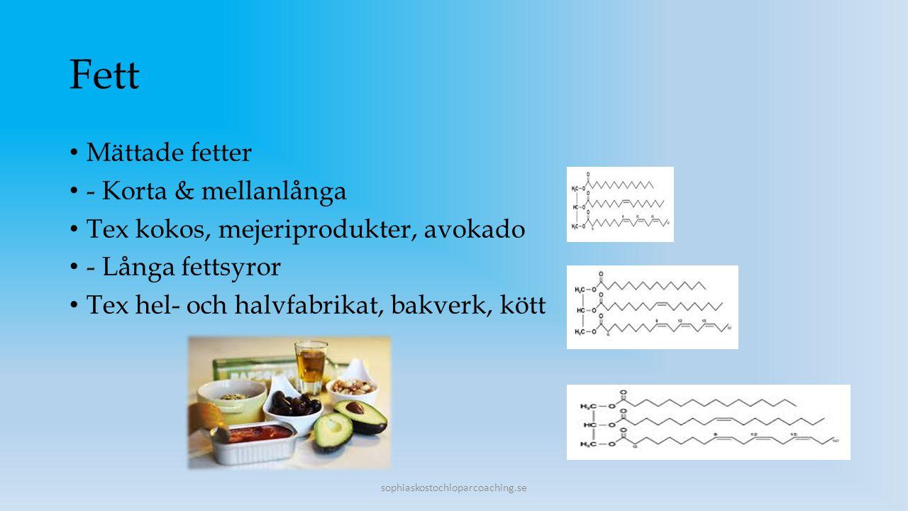 Fleromättade fetter Omega 6- nötter, fisk, fågel, kött, oljor, nötter Omega 3- valnöt, olivolja, linfrön, fet fisk Behov cirka 30 E% Vid tuffare träning mer Fett är en bra källa för högenergiförbrukare Upptag av fettlösliga vitaminer Stärker skelettet Könshormoner fettförbränning