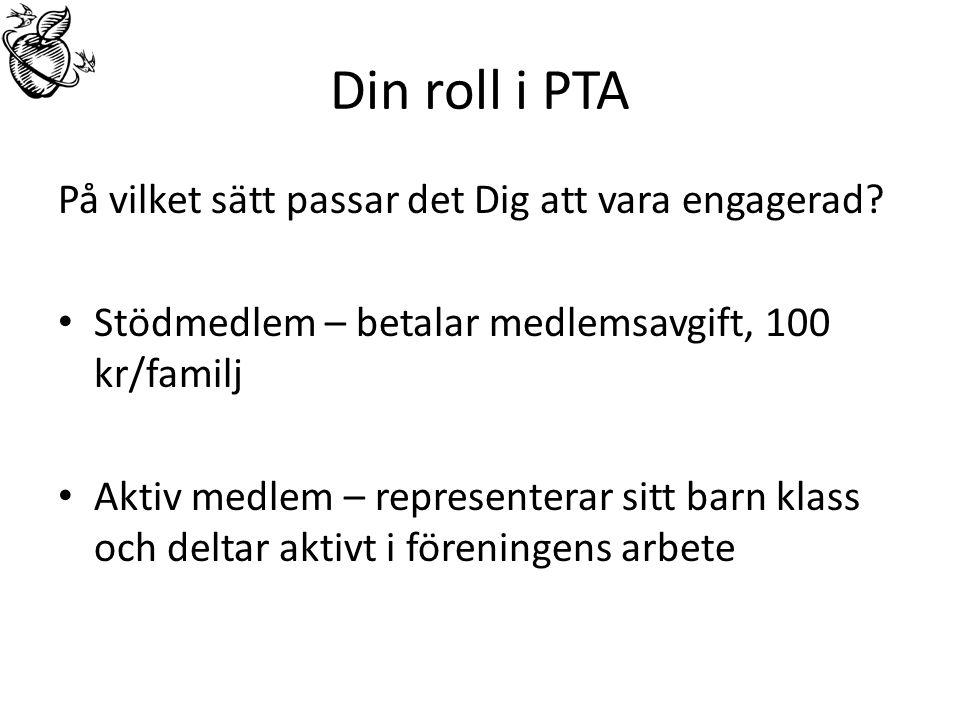 Din roll i PTA På vilket sätt passar det Dig att vara engagerad.