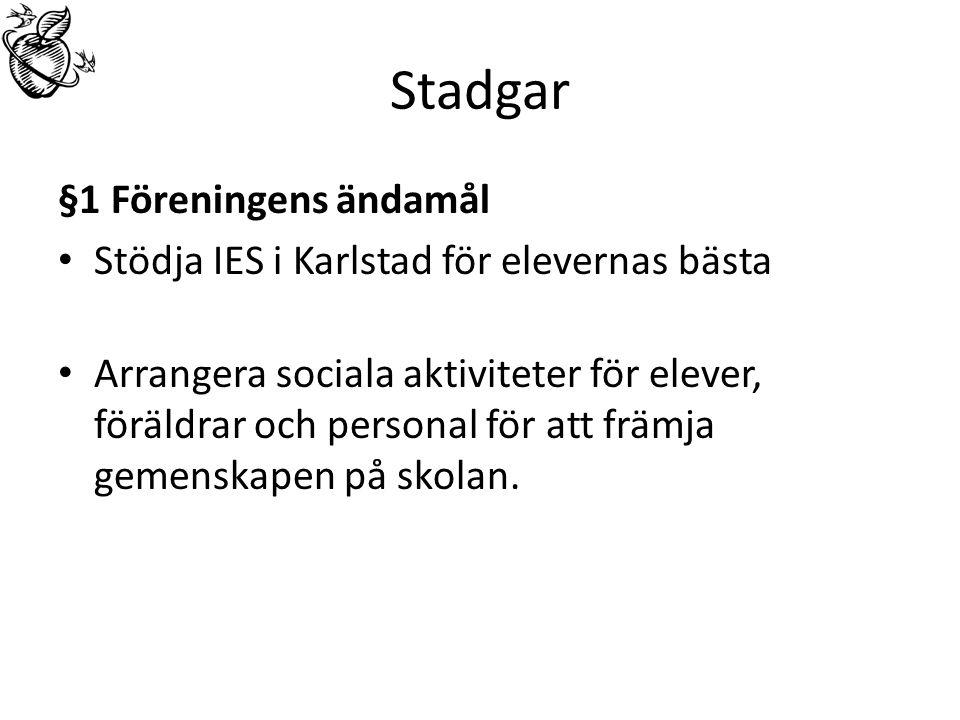 Stadgar §1 Föreningens ändamål Stödja IES i Karlstad för elevernas bästa Arrangera sociala aktiviteter för elever, föräldrar och personal för att främja gemenskapen på skolan.