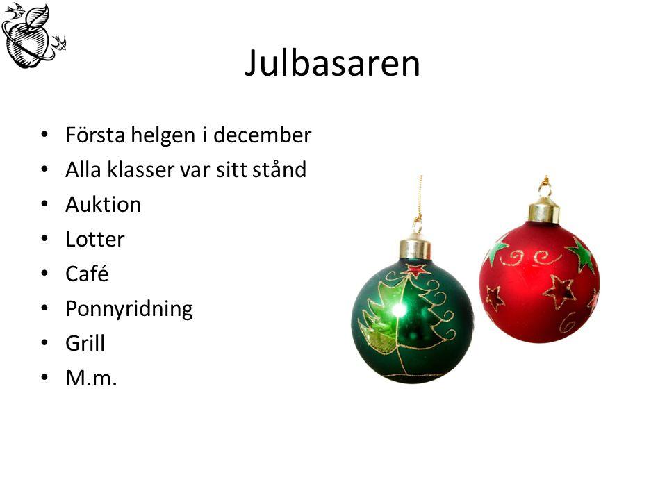 Julbasaren Första helgen i december Alla klasser var sitt stånd Auktion Lotter Café Ponnyridning Grill M.m.