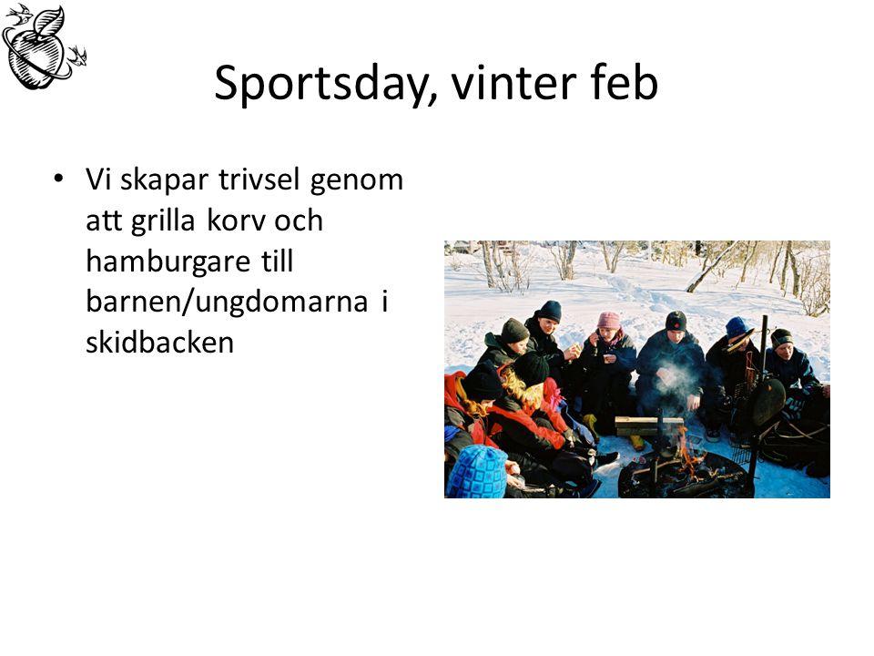 Sportsday, vinter feb Vi skapar trivsel genom att grilla korv och hamburgare till barnen/ungdomarna i skidbacken