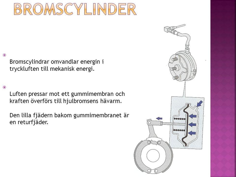  Bromscylindrar omvandlar energin i tryckluften till mekanisk energi.  Luften pressar mot ett gummimembran och kraften överförs till hjulbromsens hä