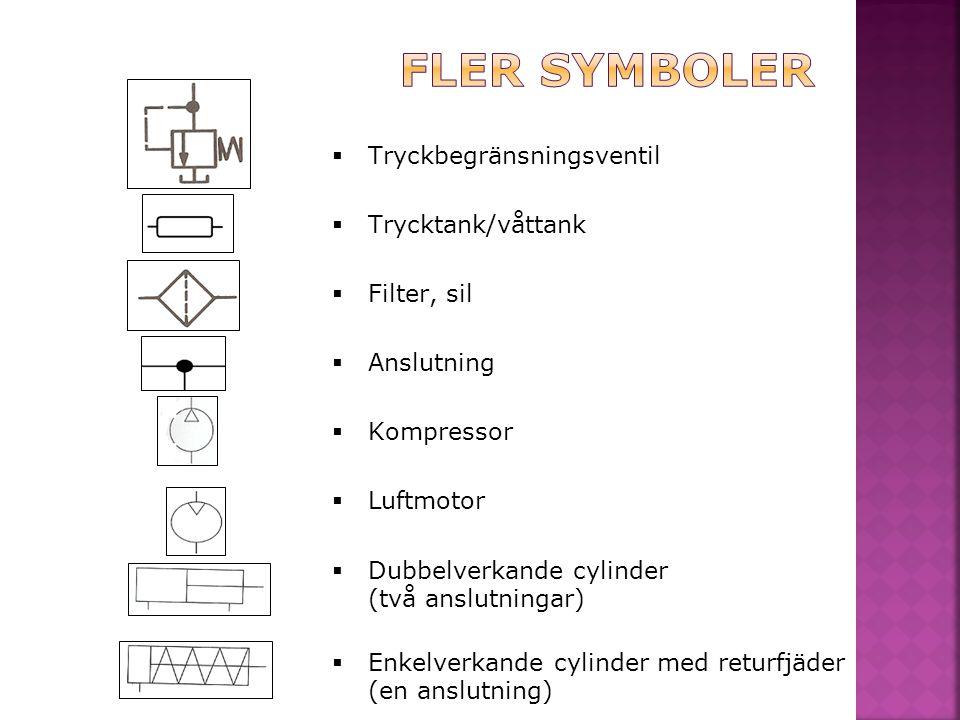  Tryckbegränsningsventil  Trycktank/våttank  Filter, sil  Anslutning  Kompressor  Luftmotor  Dubbelverkande cylinder (två anslutningar)  Enkel