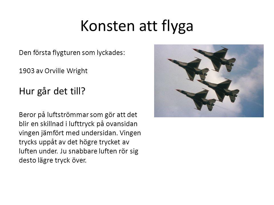 Konsten att flyga Den första flygturen som lyckades: 1903 av Orville Wright Hur går det till? Beror på luftströmmar som gör att det blir en skillnad i