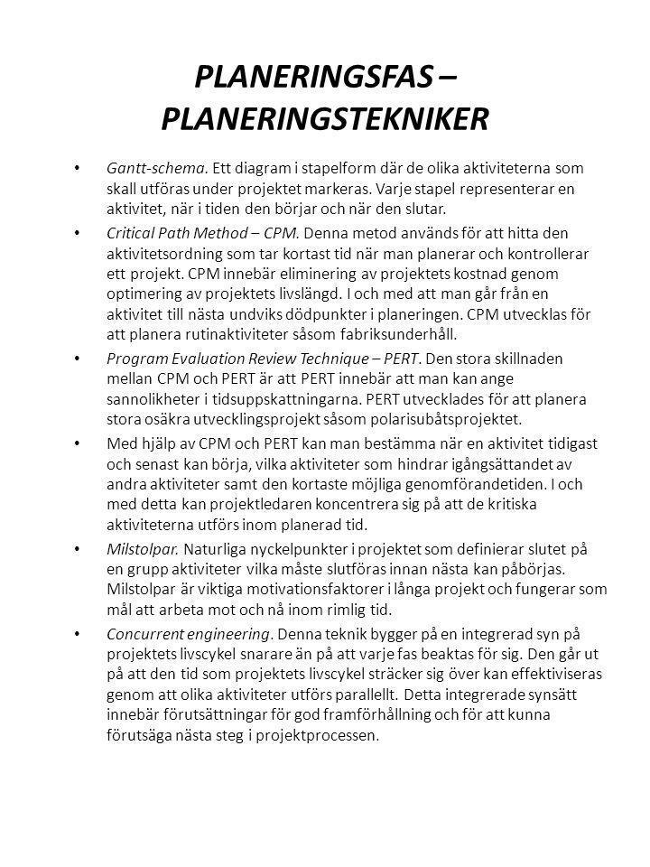 PLANERINGSFAS – PLANERINGSTEKNIKER Gantt-schema. Ett diagram i stapelform där de olika aktiviteterna som skall utföras under projektet markeras. Varje