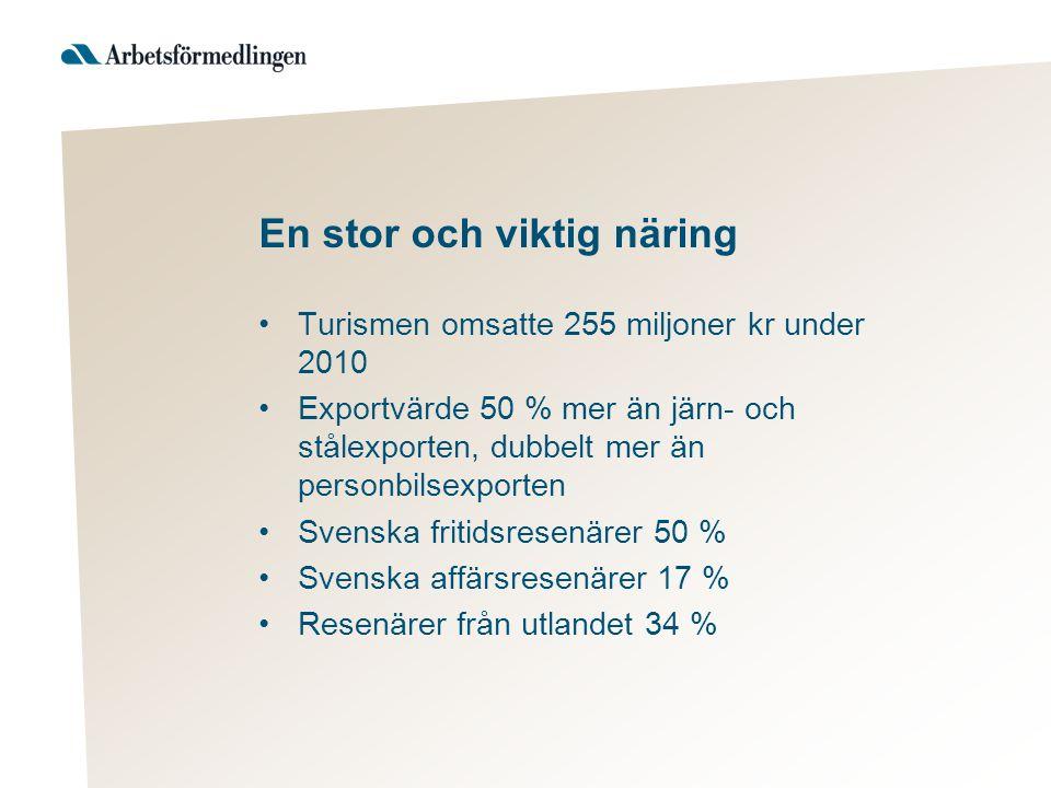 En stor och viktig näring Turismen omsatte 255 miljoner kr under 2010 Exportvärde 50 % mer än järn- och stålexporten, dubbelt mer än personbilsexporten Svenska fritidsresenärer 50 % Svenska affärsresenärer 17 % Resenärer från utlandet 34 %