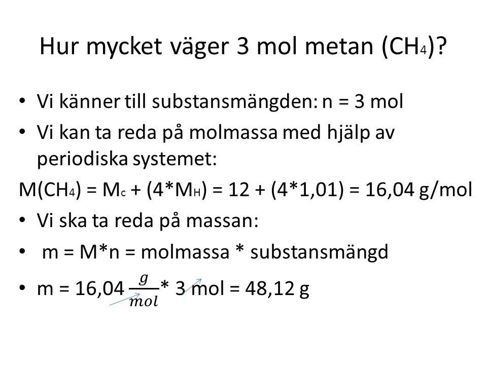 Hur mycket väger 3 mol metan (CH 4 )?