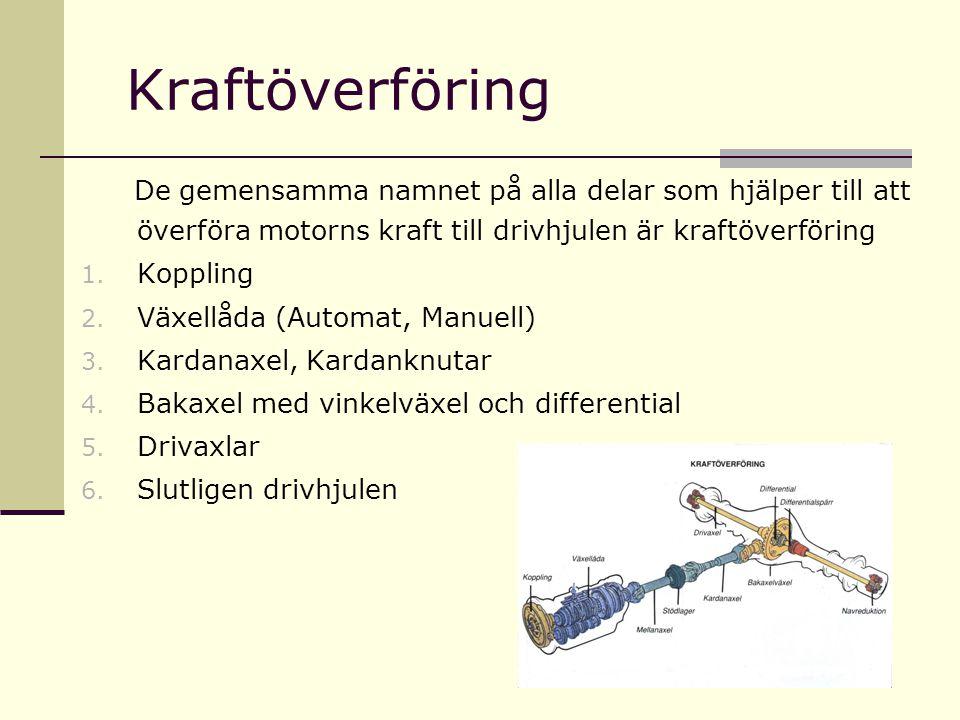 Kraftöverföring De gemensamma namnet på alla delar som hjälper till att överföra motorns kraft till drivhjulen är kraftöverföring 1. Koppling 2. Växel