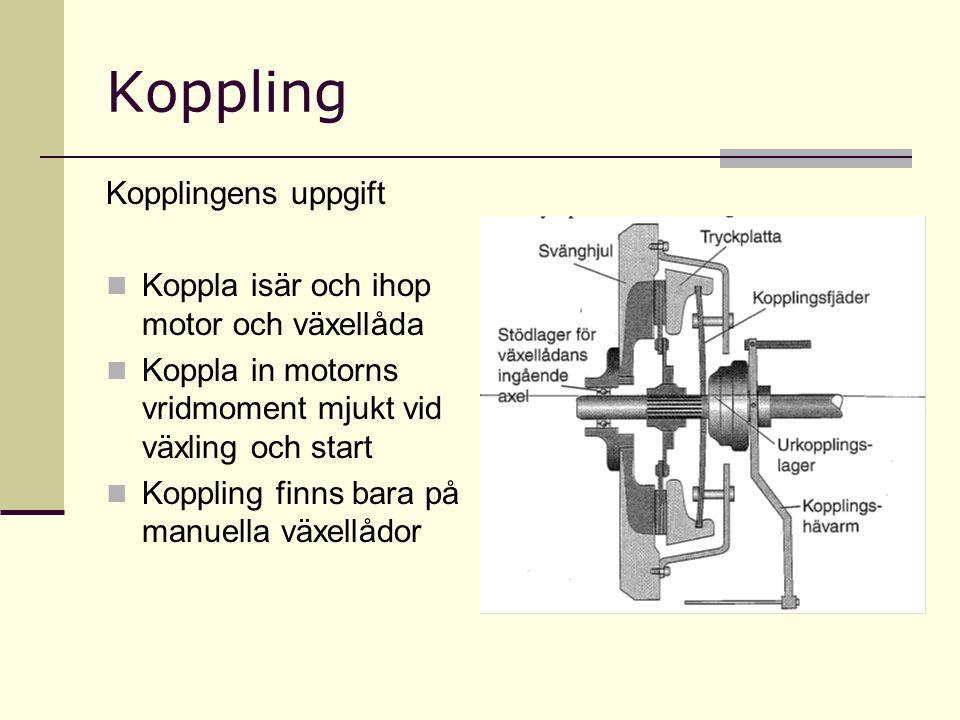 Koppling Kopplingens uppgift Koppla isär och ihop motor och växellåda Koppla in motorns vridmoment mjukt vid växling och start Koppling finns bara på