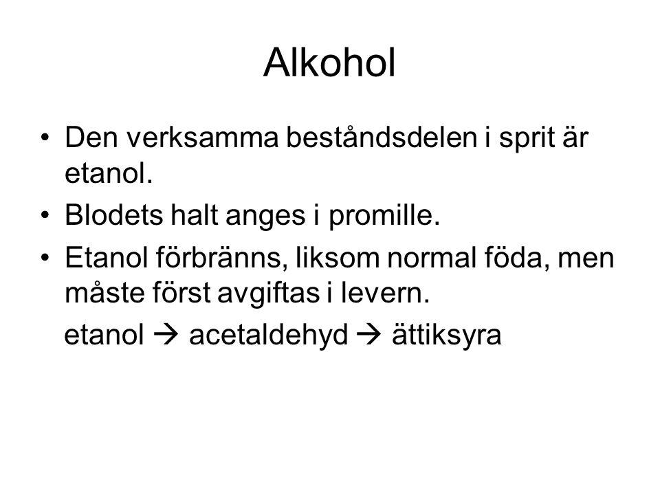 Alkohol Den verksamma beståndsdelen i sprit är etanol.
