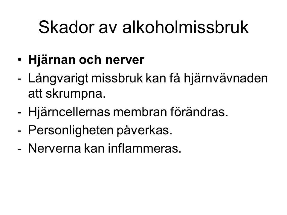 Skador av alkoholmissbruk Hjärnan och nerver -Långvarigt missbruk kan få hjärnvävnaden att skrumpna.