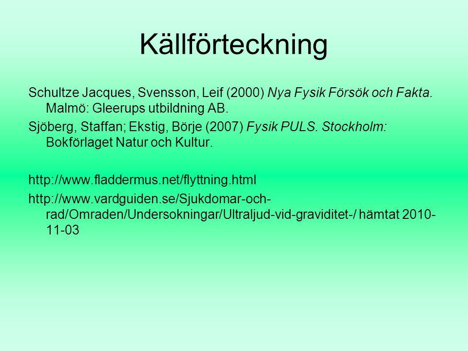 Källförteckning Schultze Jacques, Svensson, Leif (2000) Nya Fysik Försök och Fakta. Malmö: Gleerups utbildning AB. Sjöberg, Staffan; Ekstig, Börje (20
