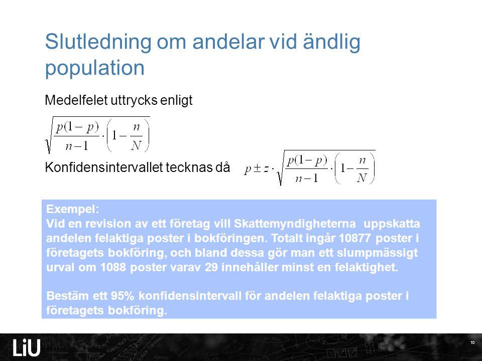 Slutledning om andelar vid ändlig population Medelfelet uttrycks enligt Konfidensintervallet tecknas då 10 Exempel: Vid en revision av ett företag vil