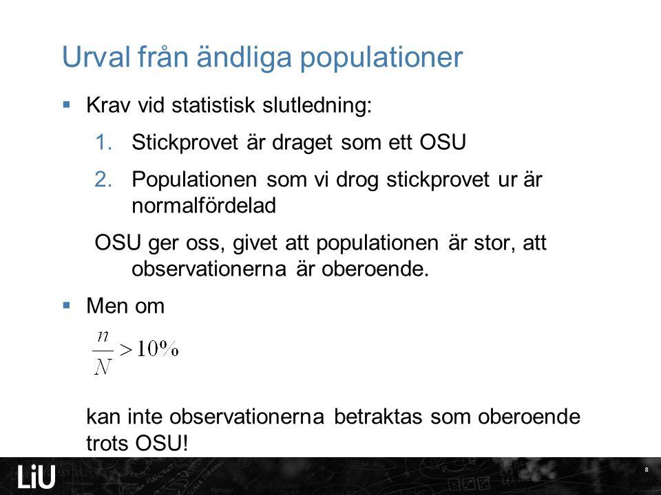 Urval från ändliga populationer  Krav vid statistisk slutledning: 1.Stickprovet är draget som ett OSU 2.Populationen som vi drog stickprovet ur är no