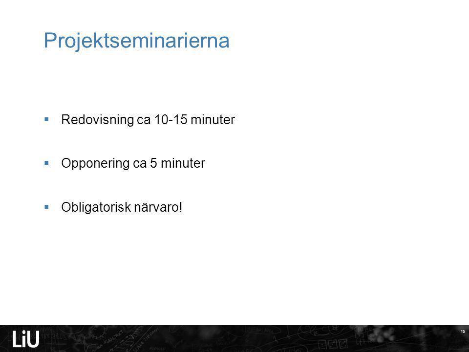 15 Projektseminarierna 15  Redovisning ca 10-15 minuter  Opponering ca 5 minuter  Obligatorisk närvaro!