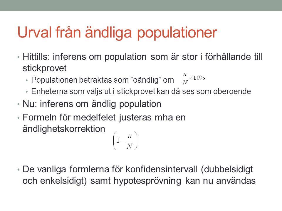 """Urval från ändliga populationer Hittills: inferens om population som är stor i förhållande till stickprovet Populationen betraktas som """"oändlig"""" om En"""