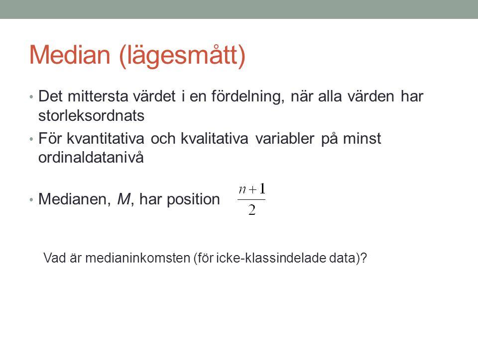 Median (lägesmått) Det mittersta värdet i en fördelning, när alla värden har storleksordnats För kvantitativa och kvalitativa variabler på minst ordinaldatanivå Medianen, M, har position Vad är medianinkomsten (för icke-klassindelade data)?