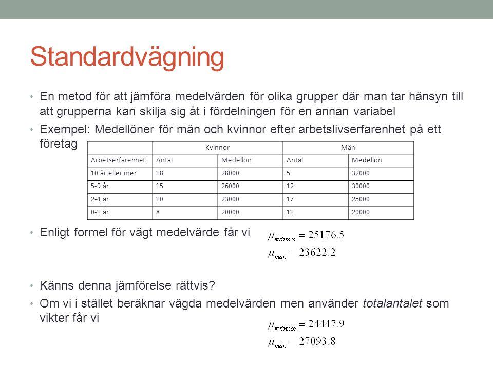 Standardvägning En metod för att jämföra medelvärden för olika grupper där man tar hänsyn till att grupperna kan skilja sig åt i fördelningen för en a