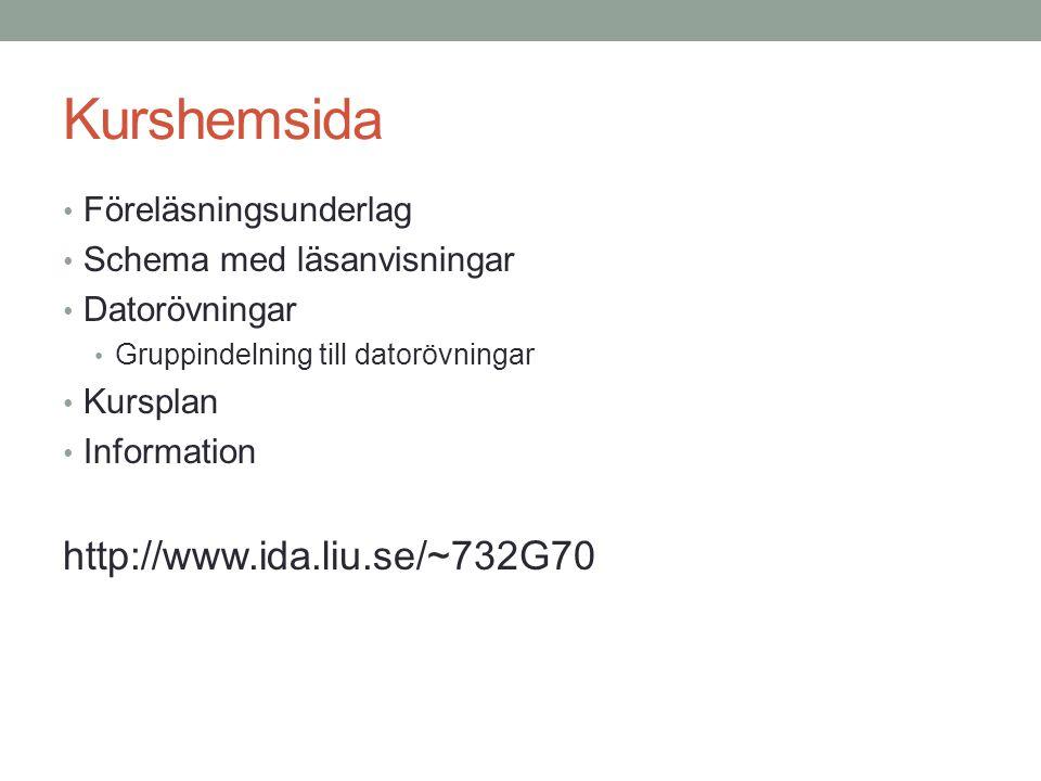 Kurshemsida Föreläsningsunderlag Schema med läsanvisningar Datorövningar Gruppindelning till datorövningar Kursplan Information http://www.ida.liu.se/~732G70