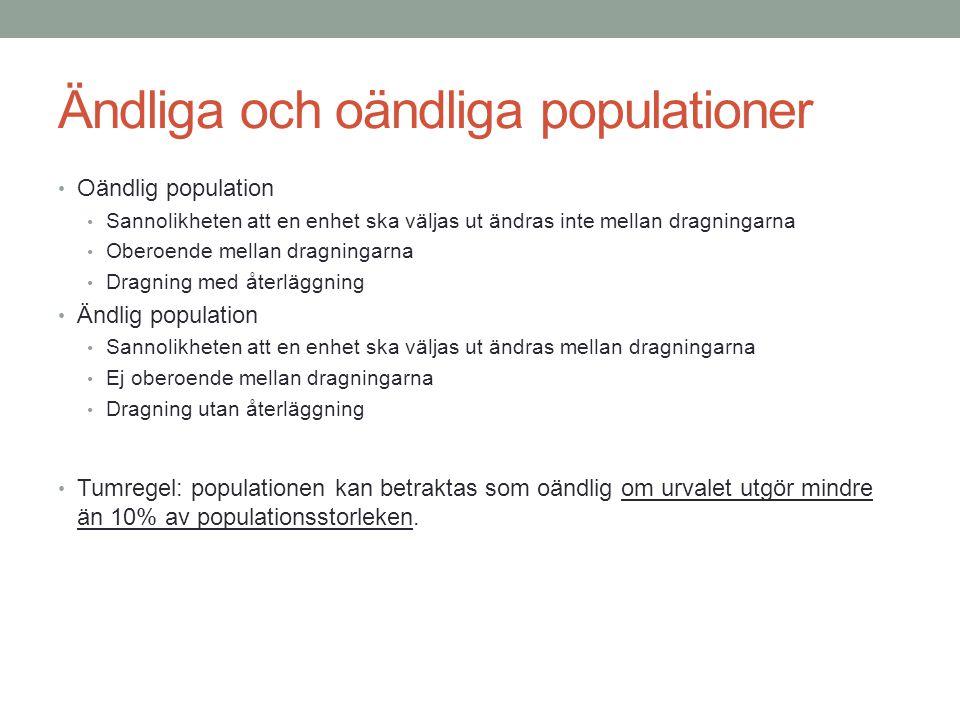 Ändliga och oändliga populationer Oändlig population Sannolikheten att en enhet ska väljas ut ändras inte mellan dragningarna Oberoende mellan dragnin