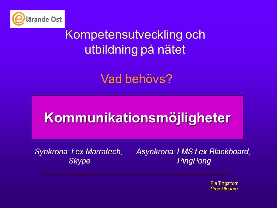 E-lrande Öst Pia Tingström Projektledare Kompetensutveckling och utbildning på nätet Vad behövs? Kommunikationsmöjligheter Synkrona: t ex Marratech, S