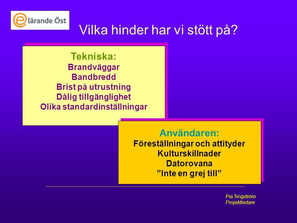 E-lärade Öst Pia Tingström Projektledare Vilka hinder har vi stött på? Tekniska: Brandväggar Bandbredd Brist på utrustning Dålig tillgänglighet Olika