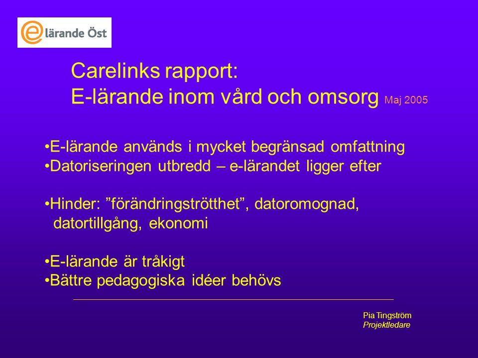 Pia Tingström Projektledare Carelinks rapport: E-lärande inom vård och omsorg Maj 2005 E-lärande används i mycket begränsad omfattning Datoriseringen