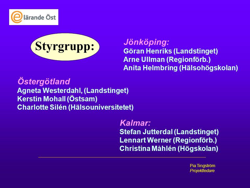 Pia Tingström Projektledare Styrgrupp: Östergötland Agneta Westerdahl, (Landstinget) Kerstin Mohall (Östsam) Charlotte Silén (Hälsouniversitetet) Jönk