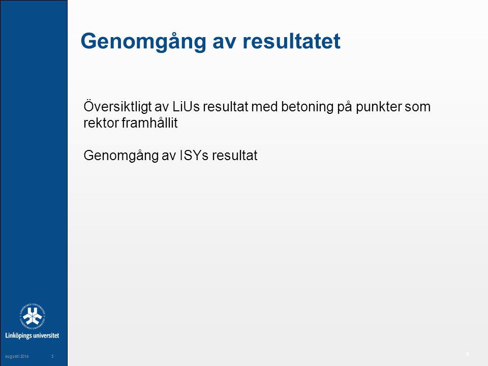 3 maj 20043 3 augusti 20143 Genomgång av resultatet Översiktligt av LiUs resultat med betoning på punkter som rektor framhållit Genomgång av ISYs resultat