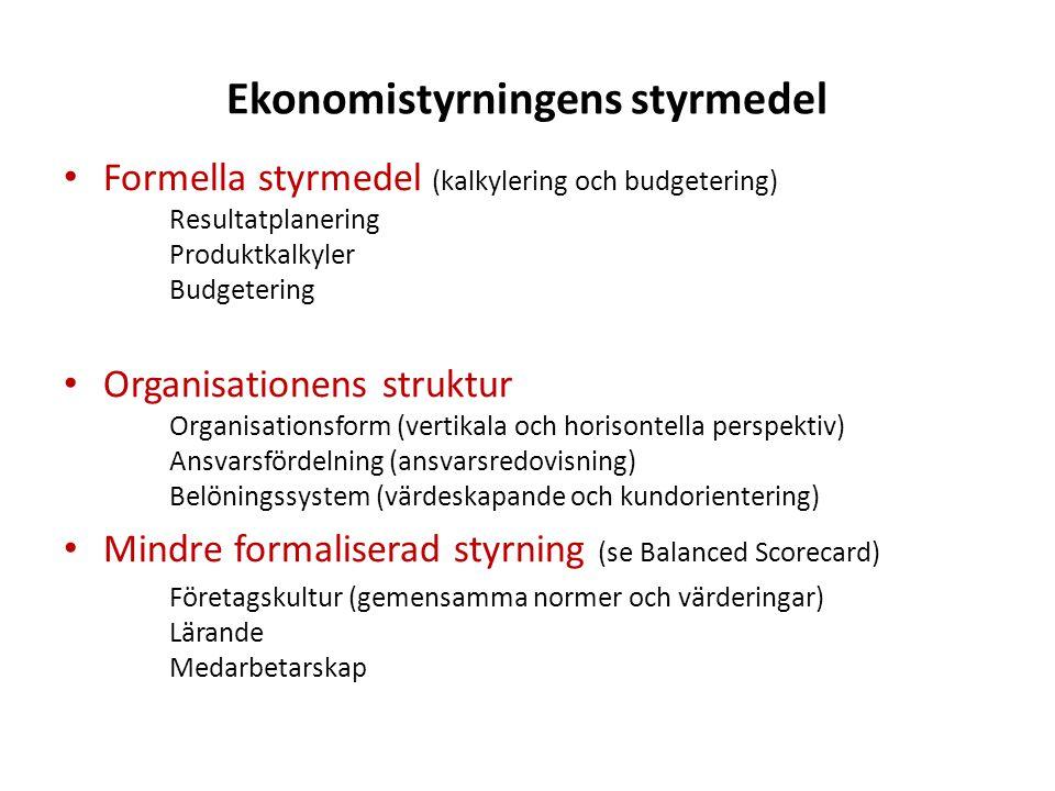 Ekonomistyrningens styrmedel Formella styrmedel (kalkylering och budgetering) Resultatplanering Produktkalkyler Budgetering Organisationens struktur O
